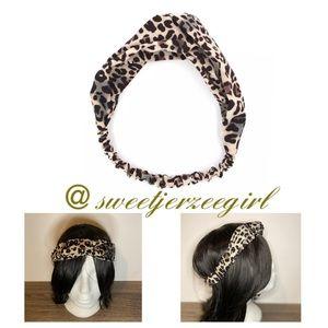 Tan Leopard Turban Knot Stretch Headband